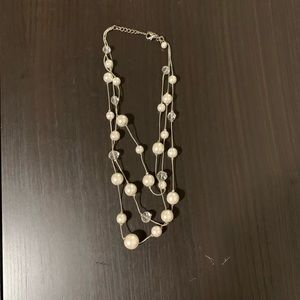 Pearl and Crystal Three Strand Necklace